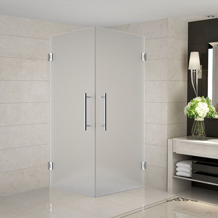 "Vanora 36"" x 36"" x 72"" Completely Frameless Dual-Door Hinged Shower Enclosure, Frosted Glass"