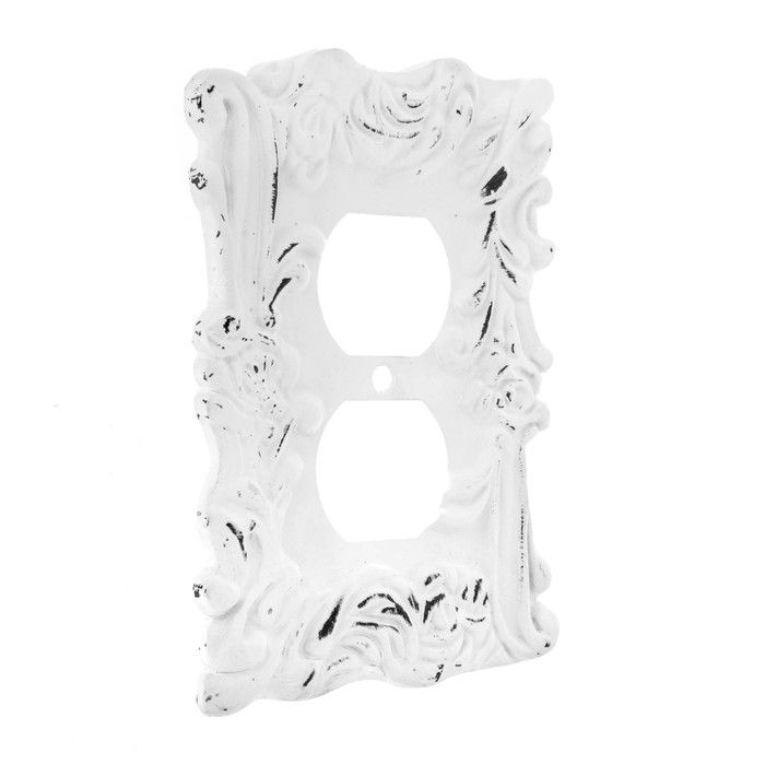 Distressed White Flourishing Metal Outlet Cover Hobby Lobby 1481530 In 2020 Outlet Covers Distressed White Shabby Chic Bathroom