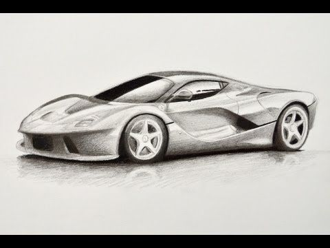 How to Draw a Ferrari With Colors - How to Draw a Car - YouTube