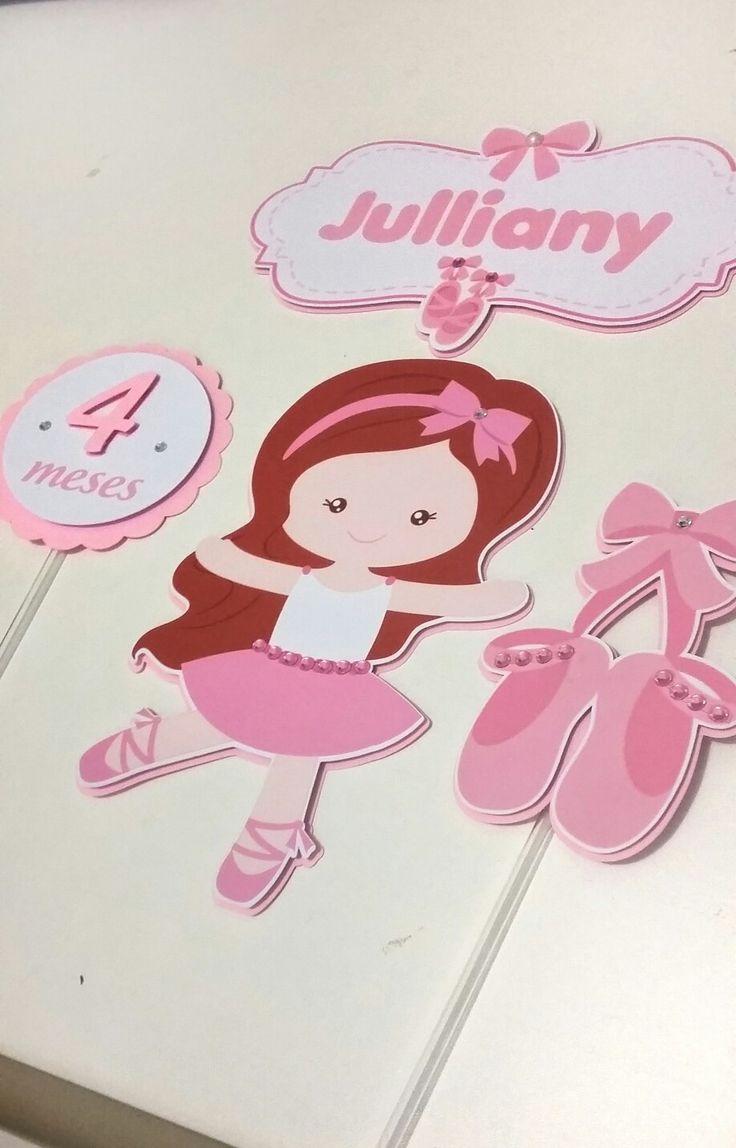 Topo bolo top cake bailarina ballet dancer pink rosa scrap scrapbook