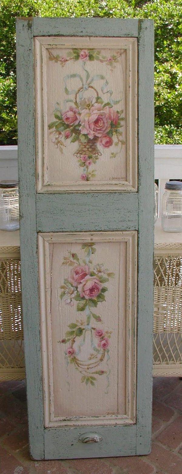 DIY Beautiful Rose Painted Shutter