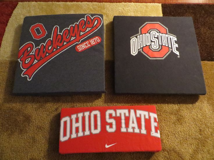 old t-shirts on foam board...new wall decor for our OSU basement