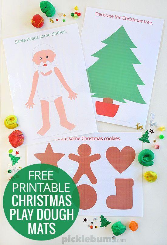 free printable Christmas play dough mats - a fun holiday activity for kids