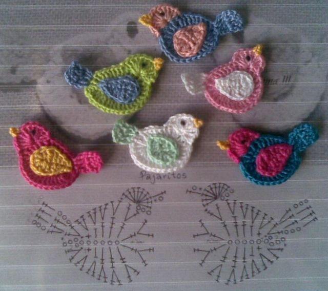 Delle applicazioni a uncinetto a forma di uccellino per decorare borse, golfini per bimbe, fare quadretti da appendere, da cucire a una copertina, insomma per fare quello che vi pare   Lo schema