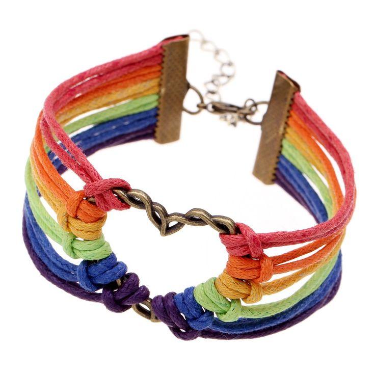 """Gay Pride Charming Bracelet """"PRIDE"""" Bracelet Rainbow"""