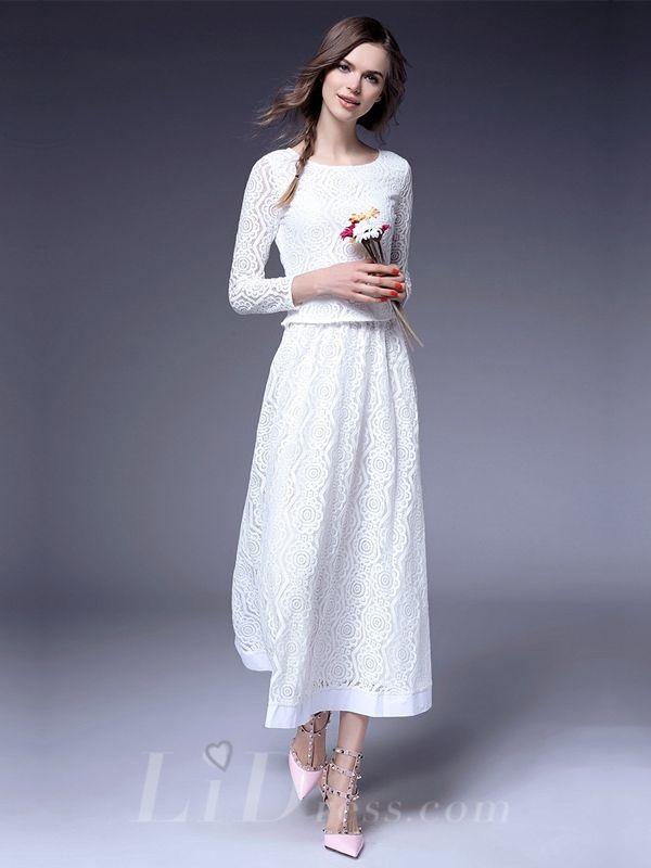Spring 2016 Three Quarter Sleeves Lace Dress