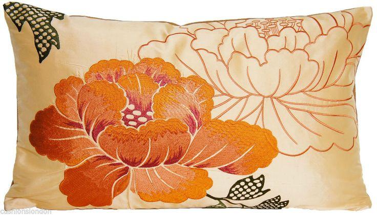 Orange Cushion Pillow Cover Osborne And Little Embroidered Silk Fabric Botan