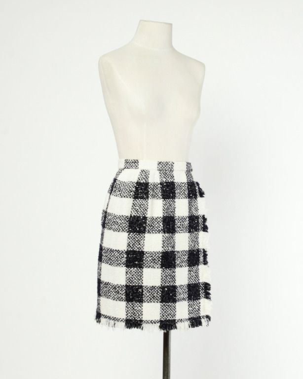 Oscar de la Renta 90s 1990s Plaid Wool Wrap Skirt | From a collection of rare vintage skirts at http://www.1stdibs.com/clothing/skirts/