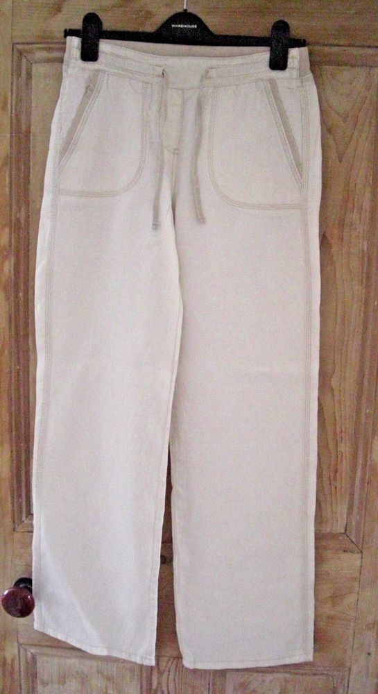 ee969a9430aa M&S Marks and Spencer womens ladies cream summer linen trousers. size 8  #fashion #clothing #shoes #accessories #womensclothing #pants (ebay link)