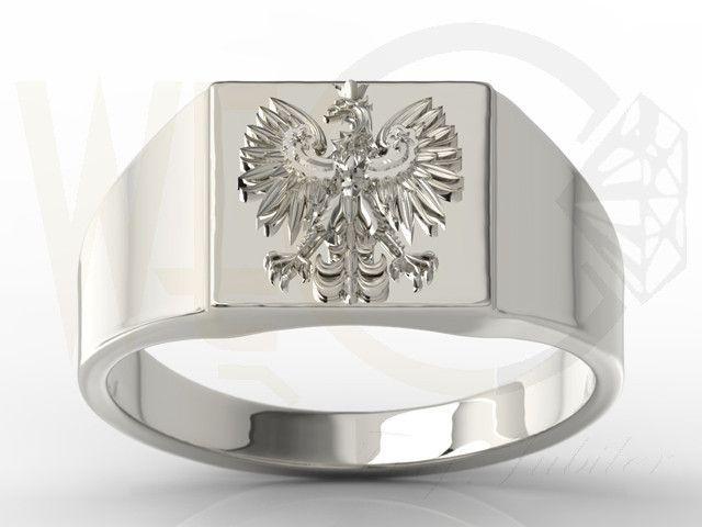 Sygnet z białego złota z orłem / Signet ring made from white gold / 1957 PLN #signet_ring #gold #jewelry #jewellery #man #sygnet #bizuteria #zloto
