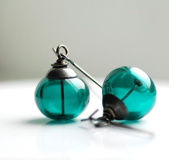 Teal Earrings, Dark Teal Earrings, Dangle Earrings, Teal Jewelry, Peacock Wedding, Beach Wedding Jewelry, Simple Earrings - Deep Sea via Etsy