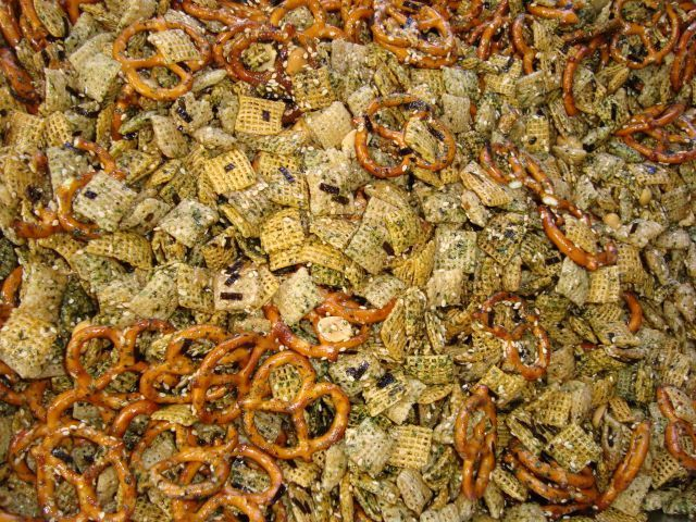 Try this recipe for Furikake Chex Mix on Foodgeeks.com I also added 1 box of Honeycomb cereal, 1 large bag of Bugles, 1 bag of Frito's corn chips, made 2 batches of the liquid mix, and only used 1.5 bottles of Furikake.