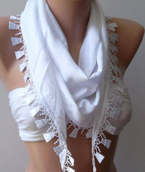 White  Elegance  Shawl / Scarf with Lacy Edge by womann on Etsy, $13.50