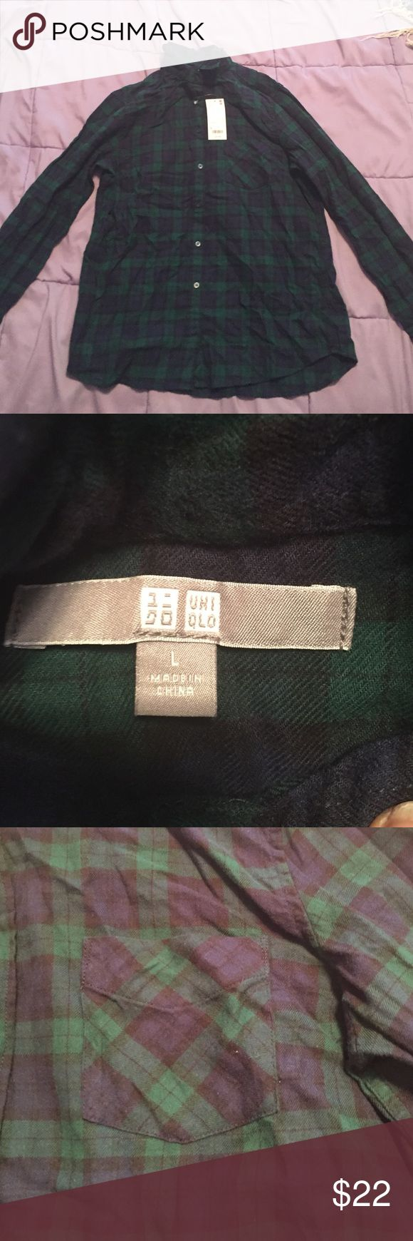 Forest Green and Navy Blue Flannel This flannel is brand new still with tags! It's 100% cotton. Uniqlo Tops Button Down Shirts