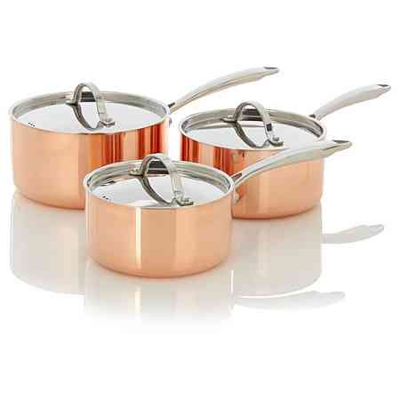 George Home 3 Piece Copper Triply Saucepan Set