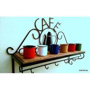 Prateleira Rústica Café + 6 Canecas Esmaltadas Ewel - R$ 128,99