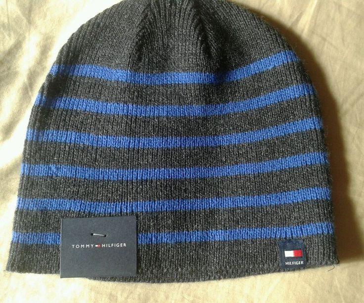 Tommy Hilfiger Gray Blue Striped Knit Acrylic Beanie