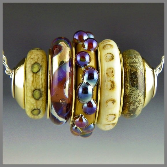 a stacked bead pendant focal silver ivory purple brass handmade lampwork sterling silver cored ambrogio