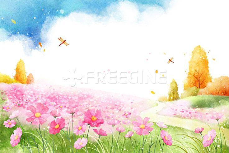 풍경, 배경, 백그라운드, 계절, 자연, 일러스트, freegine, 가을, illust, 가을배경, 코스모스, 에프지아이, FGI, PAI116, PAI116_009, 가을009 #freegine #utoimage #유토이미지 #프리진 19320090
