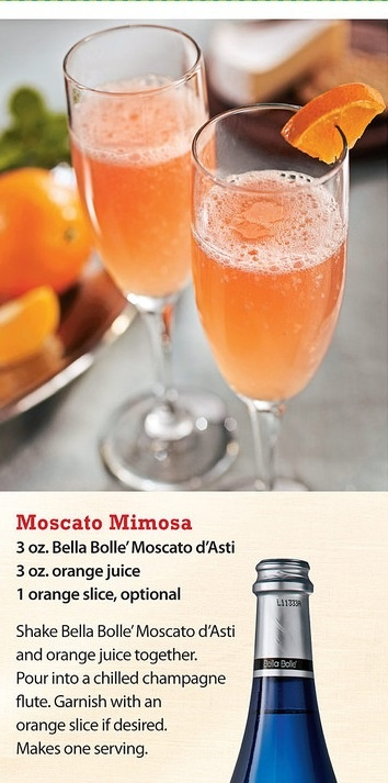 Moscato mimosa ... Might have to compare with my fave almond champagne mimosas.