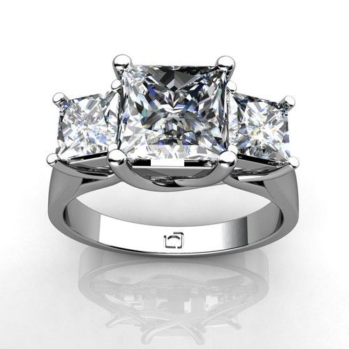 "LOVE-LOVE-LOVE THIS RING!!! Three Stone ""X"" Prong Setting for Princess Cut Diamonds. - 10 year anniversary ring (past, present, and future)."
