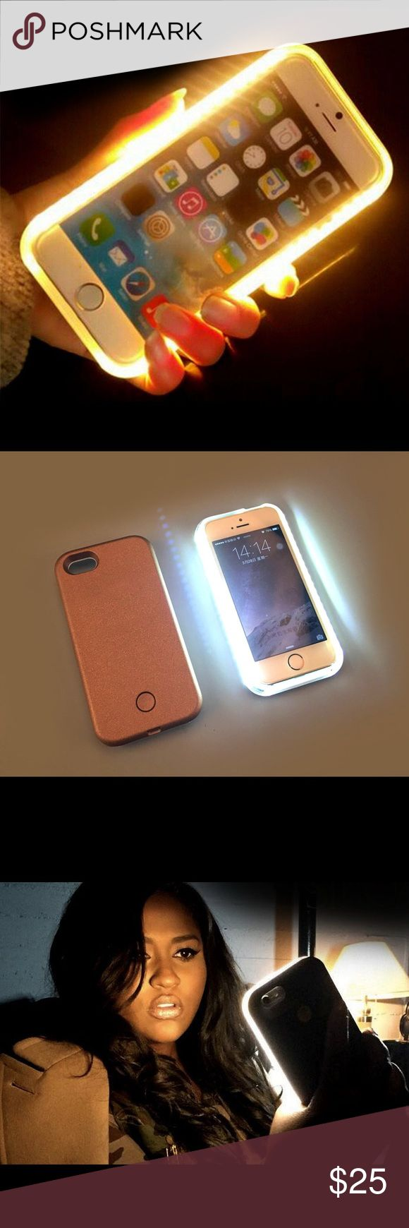 illuminated selfie case for iphone selfie case for iphone 5/5s/SE - 6/6/s - 6+/6s+ rose gold-black-white-pink colors byme Accessories Phone Cases