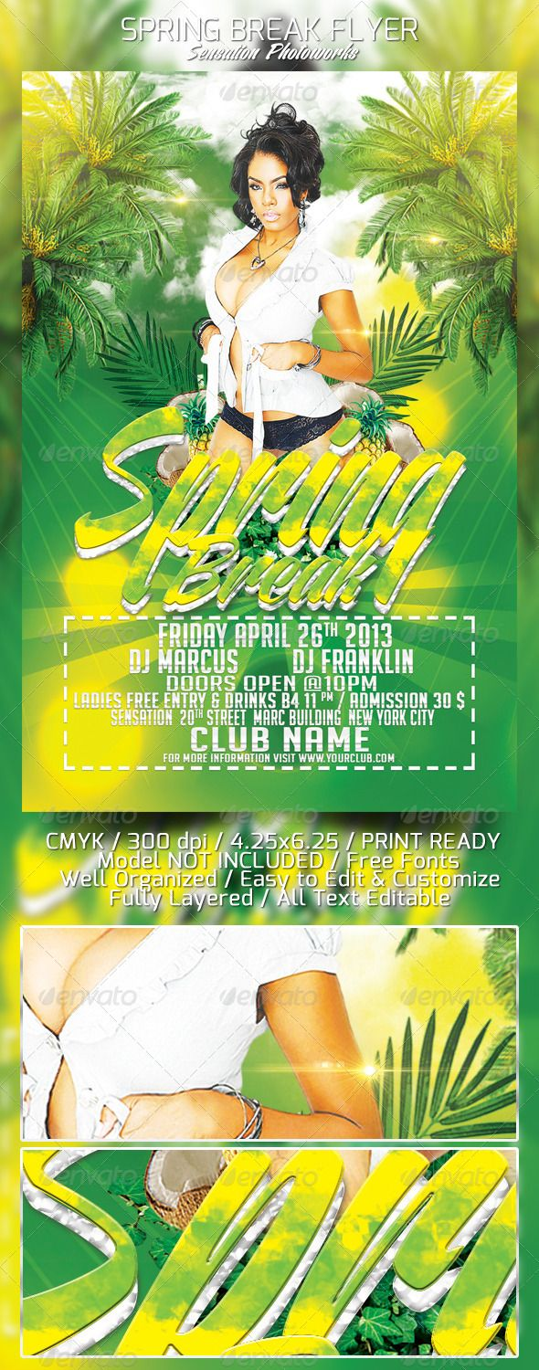 Spring Break Party Flyer Template  Spring Break Party Party