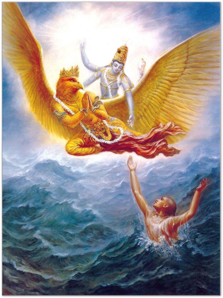 """Garuda il divino capostipite della stirpe degli uccelli. il nome di Garuḍa conserva la sua origine nella radice sanscrita gṛ=""""parlare""""[1] (anche Uṇādisūtra, IV, 155), in tal senso Garuḍa rappresenterebbe le formule ermetiche e magiche dei Veda, grazie alle quali l'uomo può volare, innalzarsi, verso i cieli divini."""