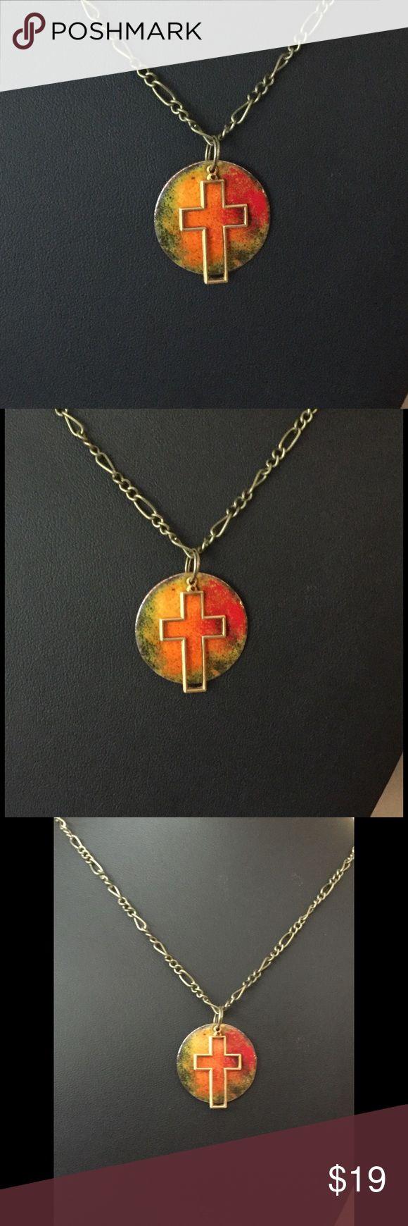 Shema israel bracelet israel bible jewish hebrew prayer kabbalah shma - Multi Colored Enameled Brass Cross Necklace A 3 19 1 Copper Disk That