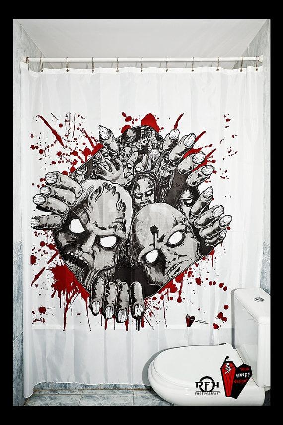 Price bloody christmas original decor custom shower for Zombie bathroom decor