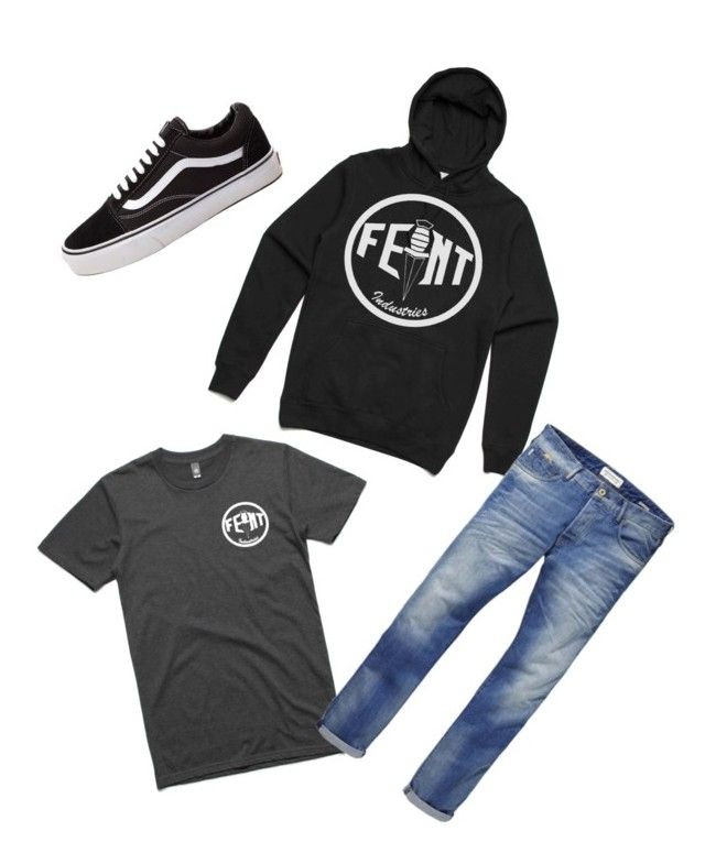 """Feint Industries staple tee and hoodie"" by feintindustries on Polyvore featuring Scotch & Soda, Vans, men's fashion and menswear"