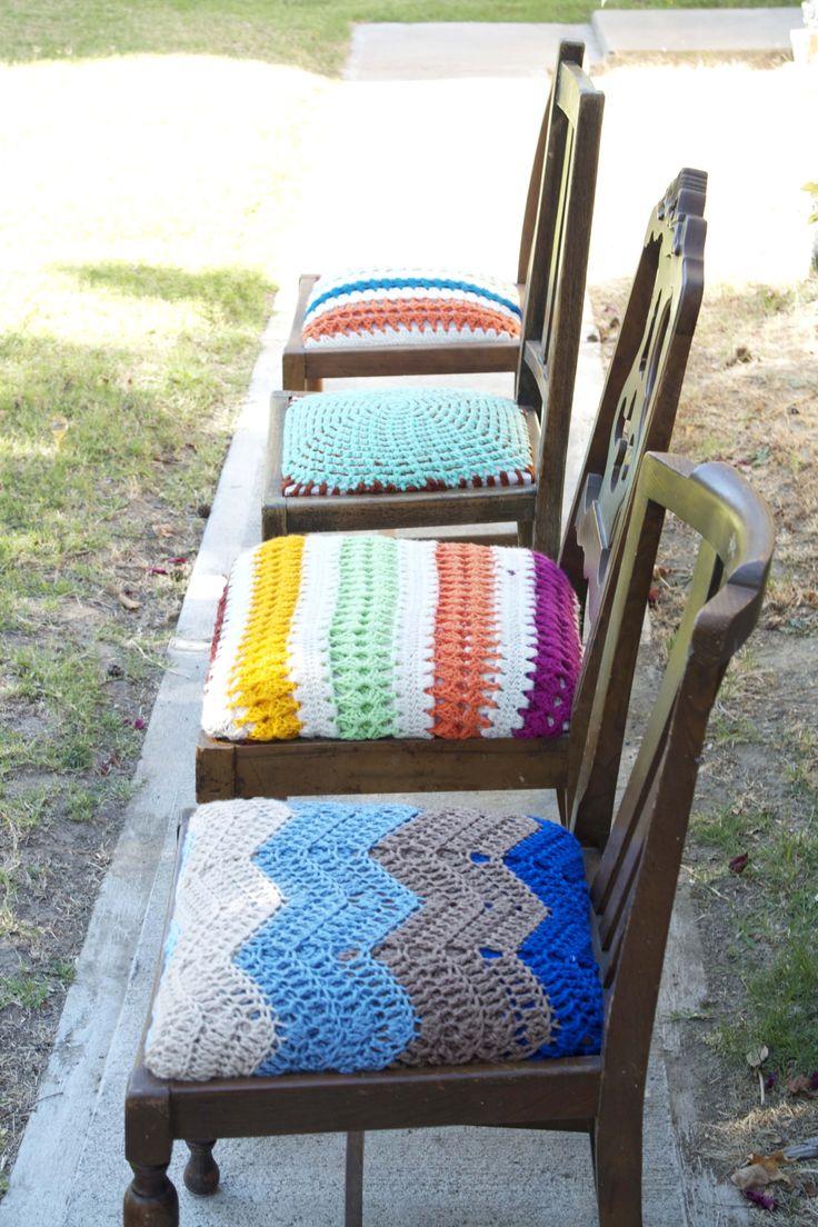 Capa para assento de cadeiras em crochê                                                                                                                                                                                 Mais