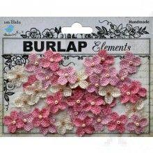 Διακοσμητικά λουλούδια από λινάτσα 40τεμ παστέλ 2cm