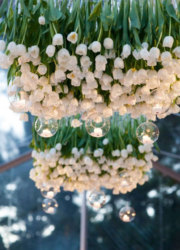 Wred Up In White Wedding Tulips Hanging Decorationsdecoration Tablehanging Centerpieceflower