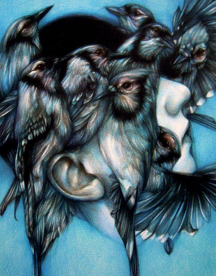 """Marco Mazzoni, """"Riptide"""" 2012, colored pencils on paper, cm 28x22"""