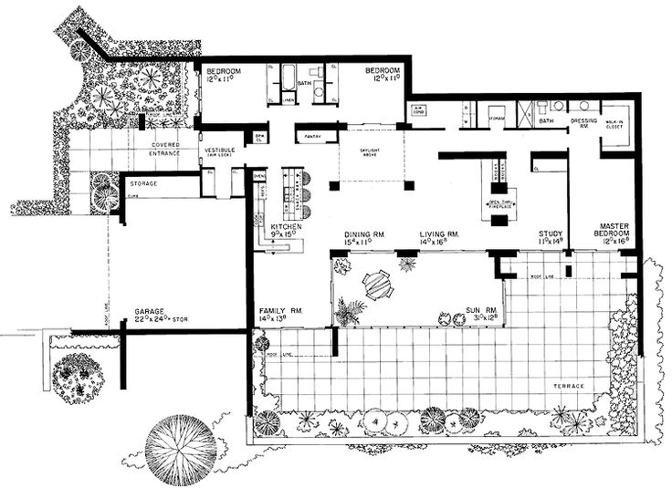 145 best mid century atrium courtyard house images on for House plans with atrium in center
