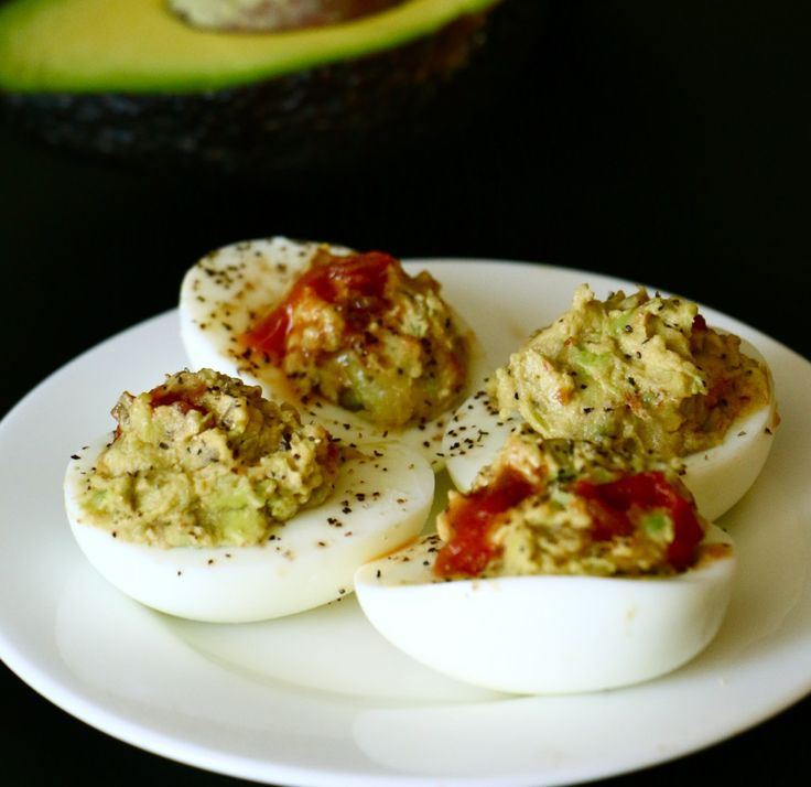 """""""Mexican"""" Deviled Eggs. Full of healthy fat from avocados and mayo-free! #easter #healthy #recipes"""