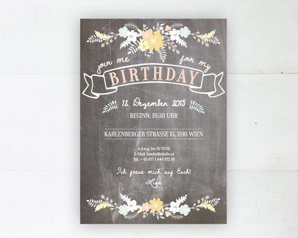 """Geburtstagseinladung""""balmy heights""""   Papierhimmel   Hochzeitseinladungen"""