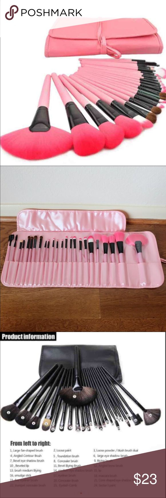 New 24pcs brushes set 24 pcs brushes markup set  The most professional  face makeup brush, very lovely set Suit for professional make up artist, makeup lover 100% handmade with good wood, horse hair and synthetic fiber , your brushes can be used for several years 100% good quality and new brand Coming with a Pu bag, perfect gift for your friends and yourself   Specification: 1.Material: Soft horse hair, synthetic hair and wood 2.Colour: As like pictures  3.Size:17-21cm(Approx)  BEAUTIFUL AND…