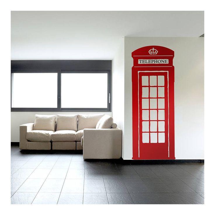 CLASSIC+BRITISH+RED+TELEPHONE+WALL+STICKER