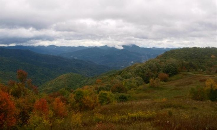 High elevations in Great Smoky Mountains National Park are getting colorful; Great Smoky Mountains, NC - Oct. 3, 2014