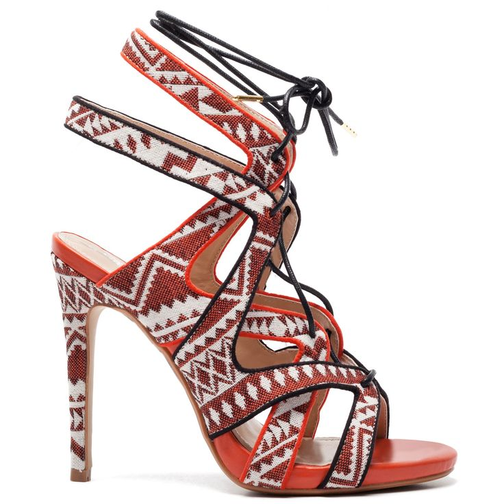 Orange sandal with laces #bohemian