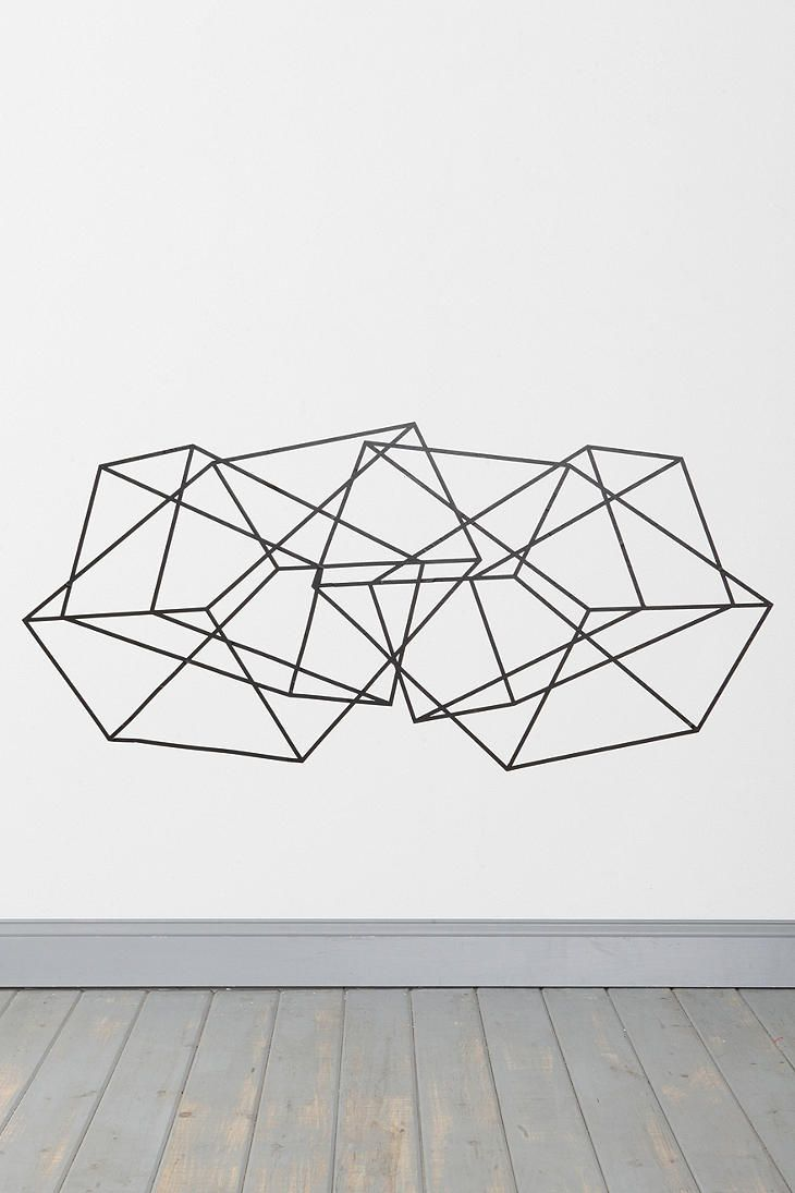 Geometric Wall Art- paint on canvas in cool color like mint or a metallic (rose gold?)