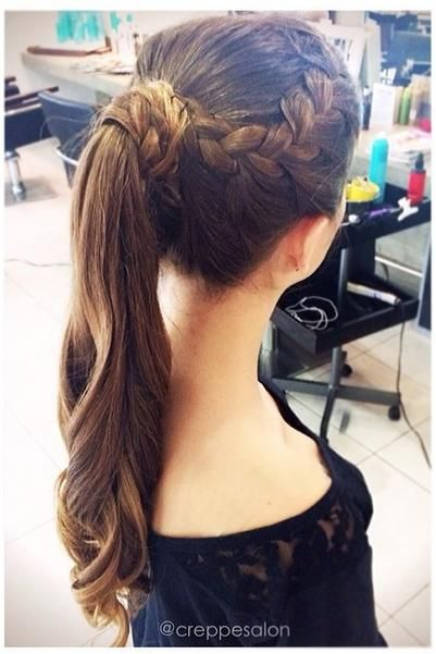 Braided top and pony tail