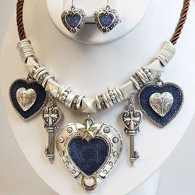 Western Cowgirl  Denim Hearts Necklace