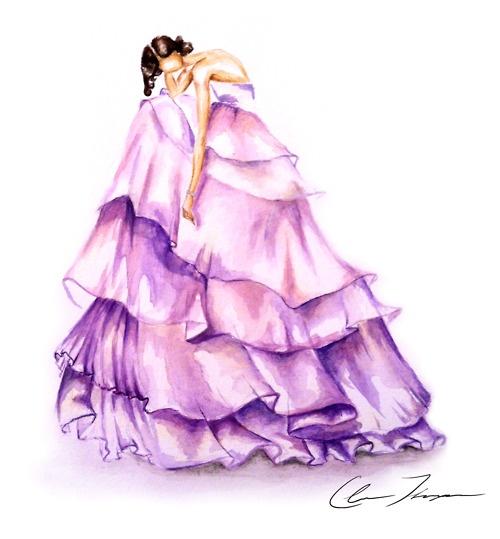 Wisteria: purple watercolor dress illustration