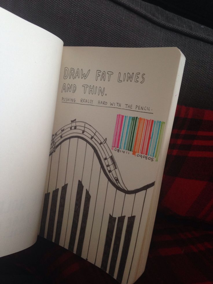Draw fat lines and thin. - My Wreck This Journal.