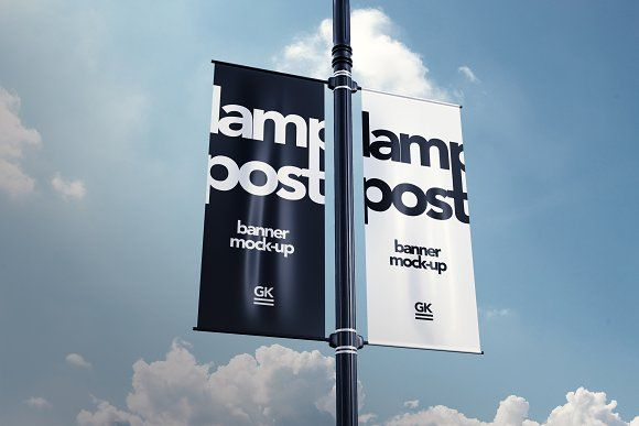 Lamp Post Banner Mock-up by Gk-creative on @creativemarket
