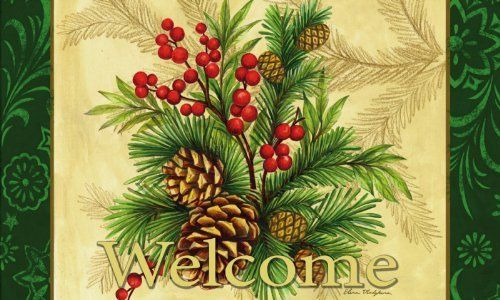 """Evergreen Mat, Winter Pine,Silk Reflections Indoor or Outdoor Floormat,30x18 Inches by Ashley Gifts. $18.99. The size is: 30""""x18"""". Mildew resistant;Easy Care and Washable, Lay Flat or Hang to Air Dry. Polyester with Recycled Rubber Slide-resistant backing Backing,. Anti-fague relief. Please check ASIN: B0061I1WT8 for Doormat Frame. This beautiful floormat is perfect in or outside your home. It has a rubber non-slip back and withstands high traffic and wear."""