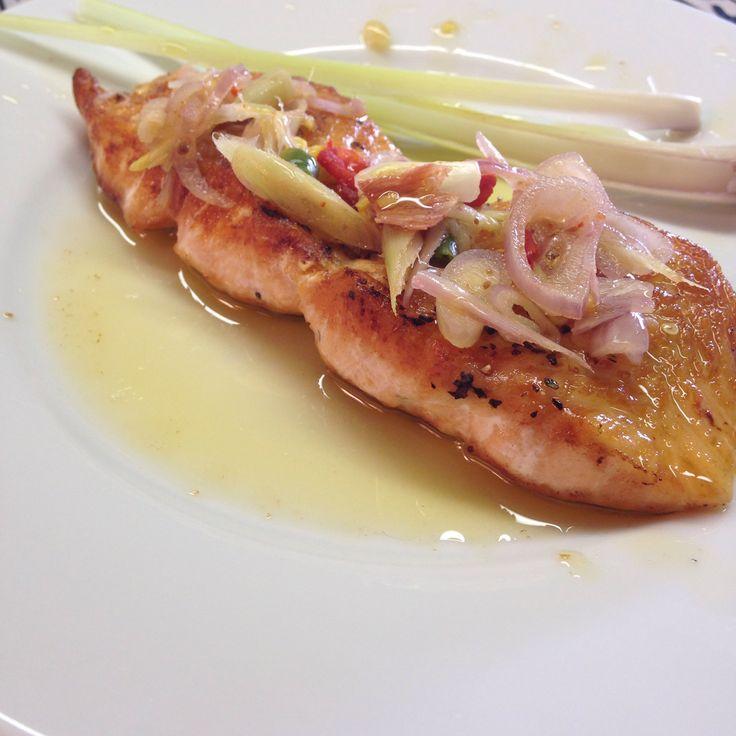 Pan fried salmon with Balinese sambal matah | domesticatedmd